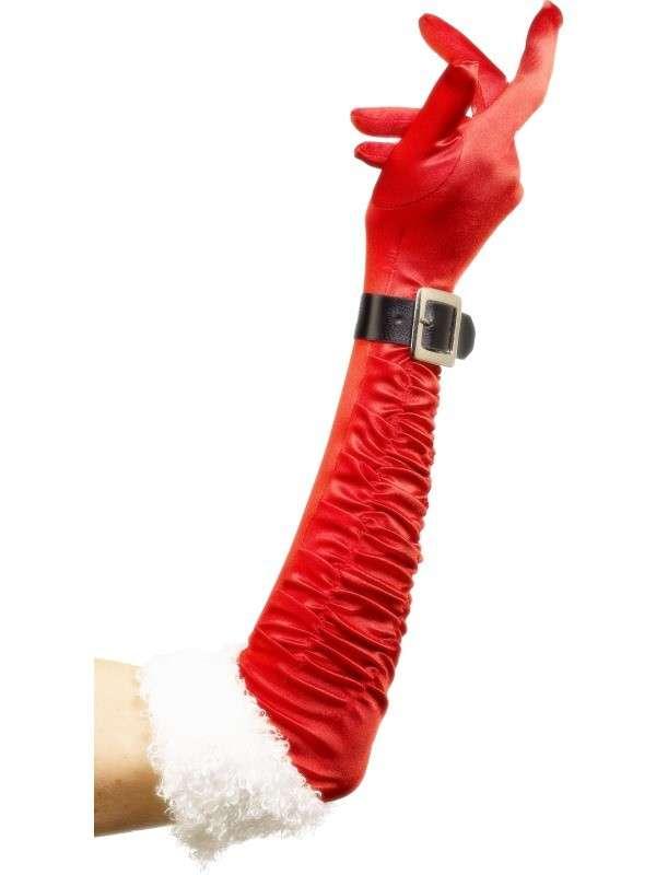 PB 29203 600x800 - Božični dodatki Santa božične dolge rdeče rokavice s pasom PB-29203