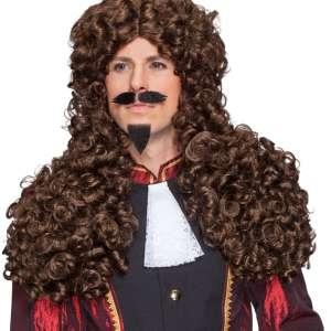 OB 32362 BAROCNA LASULJA 300x300 - Pustna moška lasulja baročna dolga rjava OB-32362