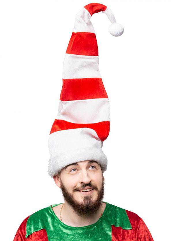 PB DG1622 KAPA ELF 600x835 - Božič dolg Elf klobuk s pom pom  rdeče bela