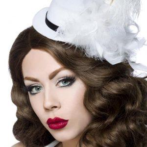 12339 005 XXX 00 300x300 - Božični dodatki oblačila mini klobuk beli s perjem